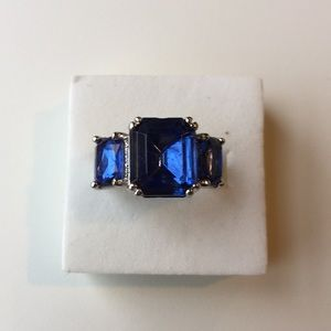 4CT Blue sapphire Zircon silver gold filled size 5